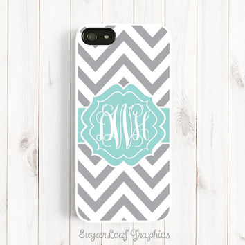 Personalized Monogram iPhone 6 Plus Case, Samsung Galaxy S3 S4 S5, Note 3, iPhone 5 5s 5c 4s, Grey Chevron Tiffany Blue Mint Monogram Csc83