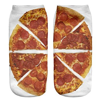 1pair 3D Lovely Funny Pizza Printed socks Men New Unisex Cute Low Cut Ankle Sock Color Cotton sock Casual Charactor Sock
