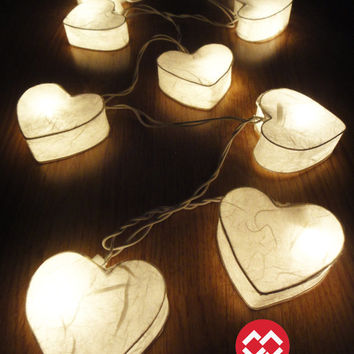 20 Romantic White Hearts LANTERN Paper Handmade by marwincraft