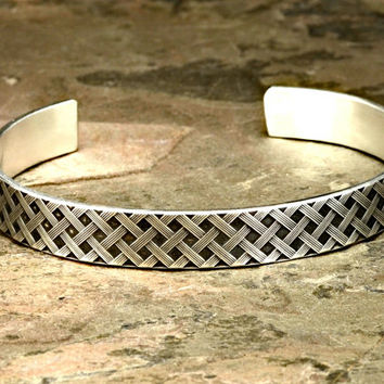 Woven Sterling Silver Cuff Bracelet with Cross Weave Pattern in solid 925 - BR337