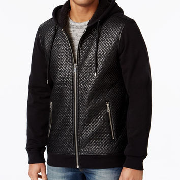 GUESS MENS ROY CHEVRON QUILTED HOODED JACKET