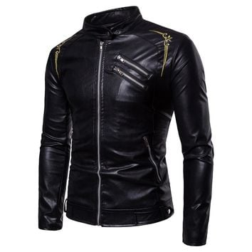 Gothic Faux Leather Slim Fit Jacket