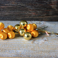 vintage glass and satin ball Christmas picks  gold // wired satin glass balls wreath supply trim mid century ornaments