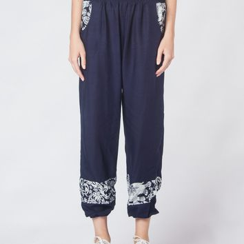 Zurura Navy Two Tone Ankle Harem Pants