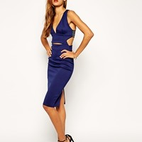 ASOS Scuba Sexy Elastic Back Midi Bodycon Dress at asos.com