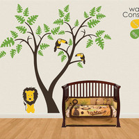 "Baby Nursery Wall Decals - Tree Wall Decal - Lion and Toucan Decal - Large: approx 78"" x 81"" - K028"