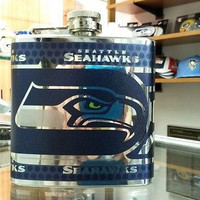 NFL Seattle Seahawks 6oz Stainless Steel Flask with 360 Wrap