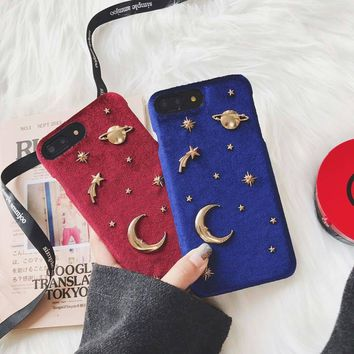 SZYHOME Phone Cases for Iphone X 6 6s 7 8 Plus Fashion Luxury Gold Velvet 3D Metal Blue Black Moon Mars Planet Series Back Cover