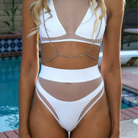 High Waist Sexy Bikini Set Mesh Patchwork Women Bathing Suits Transparent Swimming Suit Swimwear Biquini Maillot De Bain -0401