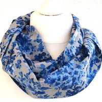 Circle Scarf blue grey floral Infinity FREE SHIPPING