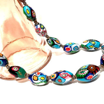 Murano Glass Millefiori Bead Necklace, Oval Chunky Graduated Beads, Brass Filigree Caps, Italian Venetian Glass, Multi Color, Vintage