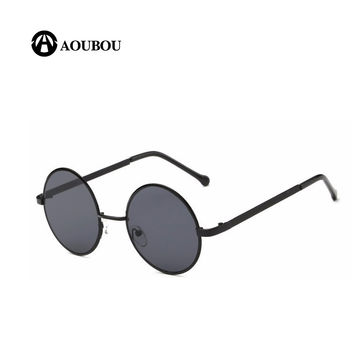 Sunglasses Men Retro Metal Round Flat Top Color Film Sun Glasses For Women Fashion Models Black Lens UV400 Circle Gafas 6140