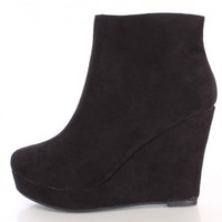 Black Wedge Ankle Booties Faux Suede