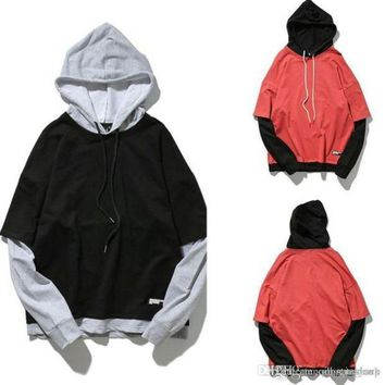 New Original Tide Brand Men's Thin Loose Hip Hop Sweatwear Hoodie Autumn Teenager Long - sleeved Hit Color Stitching Hooded Jacket