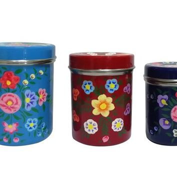 Paper Mache Hand Painted Steel Spice Jar, Canister, Container (Set Of 3)