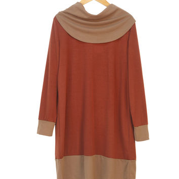 Country Style Cowl Neck Loose Dress