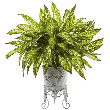 Silk Flowers -Aglaonema With Metal Planter Artificial Plant