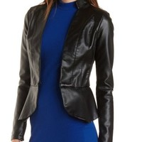 Faux Leather Peplum Blazer by Charlotte Russe