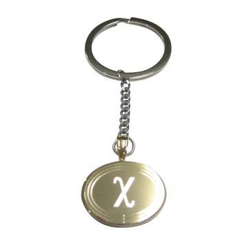 Gold Toned Etched Oval Greek Letter Chi Pendant Keychain
