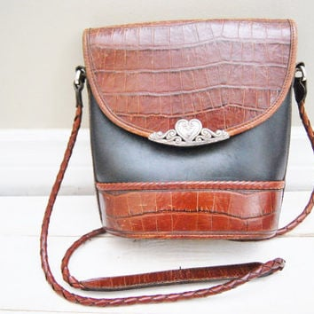I Heart You - Vintage Leather Braided Faux Crocodile Flip Bag Purse