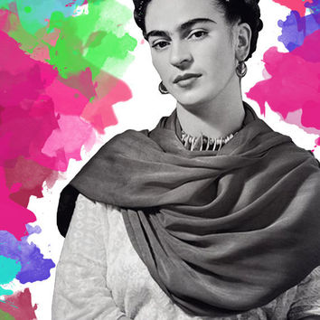Frida Kahlo Art Print digital download A3 print, frida kahlo poster print, frida kahlo black and white watercolor poster, wall decor