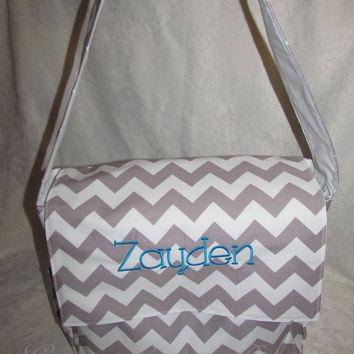 SHIPS FREE custom handmade chevron aqua messenger flap diaper bag you choose color and name