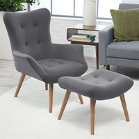 Modern Classic Mid-Century Style Gray Accent Chair & Ottoman