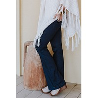 Brooke Pull On Flared Bell Bottom Jeans - Dark Wash