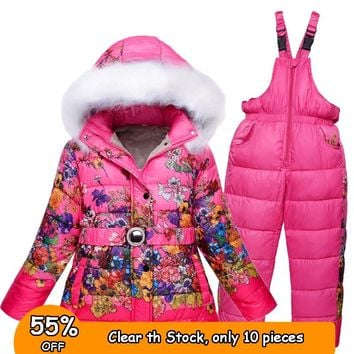 7 8 years  Winter Girls Snow Wear Kids Ski Suits Floral Print Fleece jacket+Skiing Pants 2 pieces Girls Winter Clothes