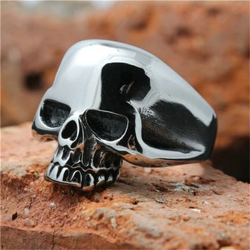 1pc Lastest Design Hot Mens Boy Skull Head Ring 316L Stainless Steel Punk Style Ring