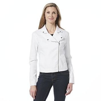 Jaclyn Smith Women's Twill Moto Jacket