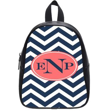 Chevron Pink Monogram School Backpack Small
