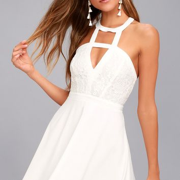 All My Daydreams White Lace Skater Dress
