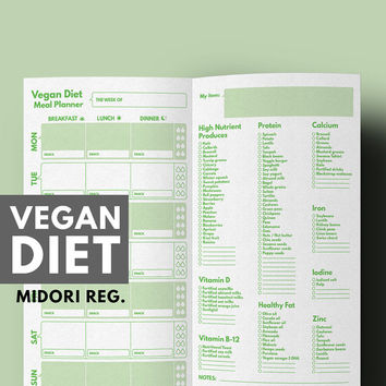 Weight Loss Planner Vegan Diet Meal & Grocery List for Vegan Diet Printable, Midori Refill, Meal Planner Midori, Midori Traveller's Notebook