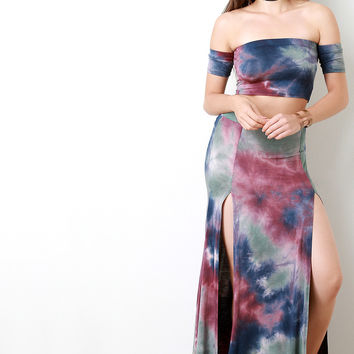 Tie Dye Cloud Front Slit Maxi Skirt