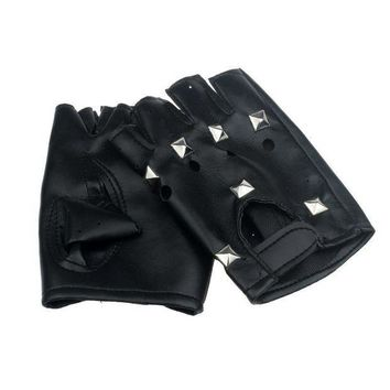ac PEAPO2Q 2017 Theatrical Punk Hip-hop PU Black Half-finger Leather Gloves Square Nail Y8033