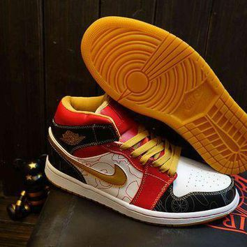 PEAPON3A VAWA Men's Nike Air Jordan 1 Retro High Leather Basketball Shoes Red Yellow