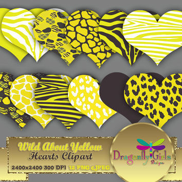 "80% OFF Sale WILD About Yellow Hearts 8"" Clip Art, commercial use, digital scrapbook papers, vector graphics, printable, Instant Download"