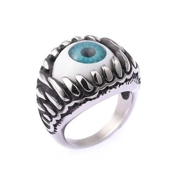New Biker Ring Blue Amulet Silver Tone Stainless Steel Turkish Eye Rock Punk Men Jewelry Gift Illuminati Ring Trendy Accessories
