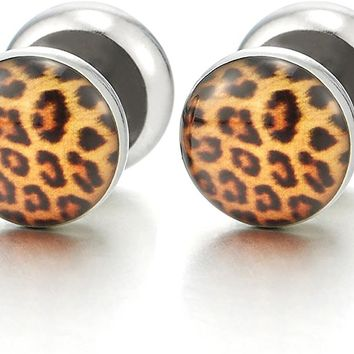 10MM Womens Screw Stud Earring with Leopard Print Pattern, Steel Cheater Fake Ear Plug Gauges