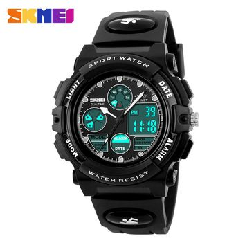 SKMEI Children Watch Sports Diving Watches Dual Display Wristwatches LED Digital Watch Kids Clock boys girls Students Wristwatch