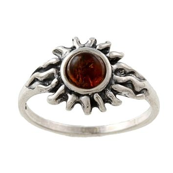 Silvermoon Sterling Silver Amber Sun Ring - Free Shipping On Orders Over $45 - Overstock.com - 13729619