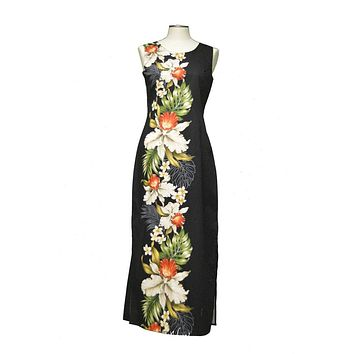 Ky's 100% Cotton Black Long Tank Womens Aloha Dress with Red and White Hibiscius