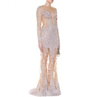zuhair murad - sequinned silk-blend mesh gown