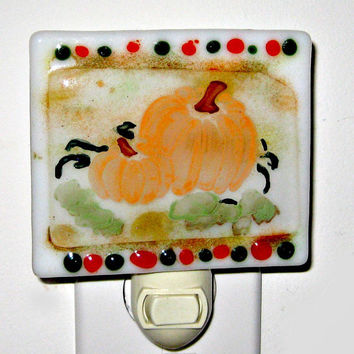Fused Glass Night Light - Fall Pumpkins
