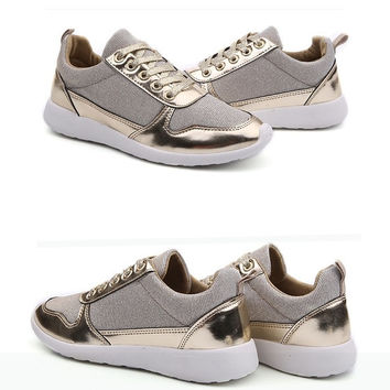 2015 New Women Flats Shoes Korean Breathable Shoes Casual Leisure Vintage Shoes ( Black , Silver , Golden)