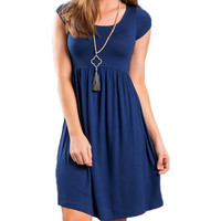 Women's Navy Blue Scoop Neck Casual Pleated Sun Dress
