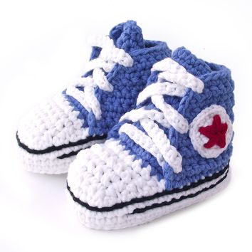 Crochet Baby Booty Blue Slippers Sneakers Chuck Taylors