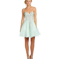 Glamour by Terani Couture Cascading Crystal Party Dress - Seafoam