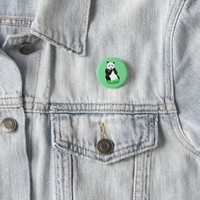 Panda Bear Green Button